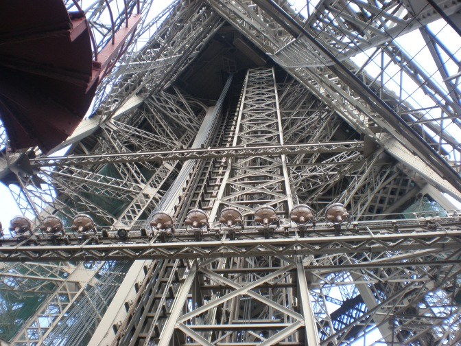 Climbing up the Eiffel Tower on foot