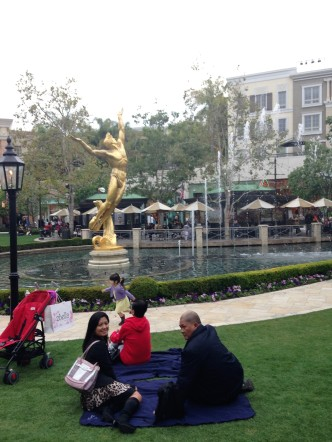 Relaxed mode at The Americana at Brand, blanket available for all to use at no cost