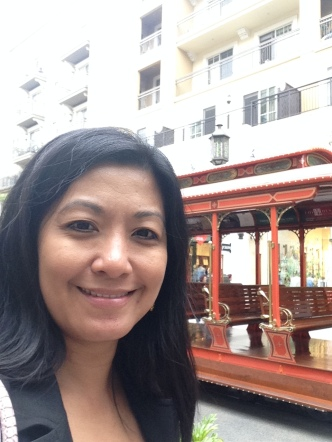 Selfie with the trolley as background