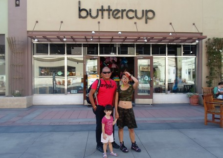 Posing in front of Buttercup in Paseo Colorado