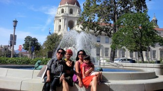 Paused and posed by the fountain outside of Citibank on our way to the Pasadena City Hall